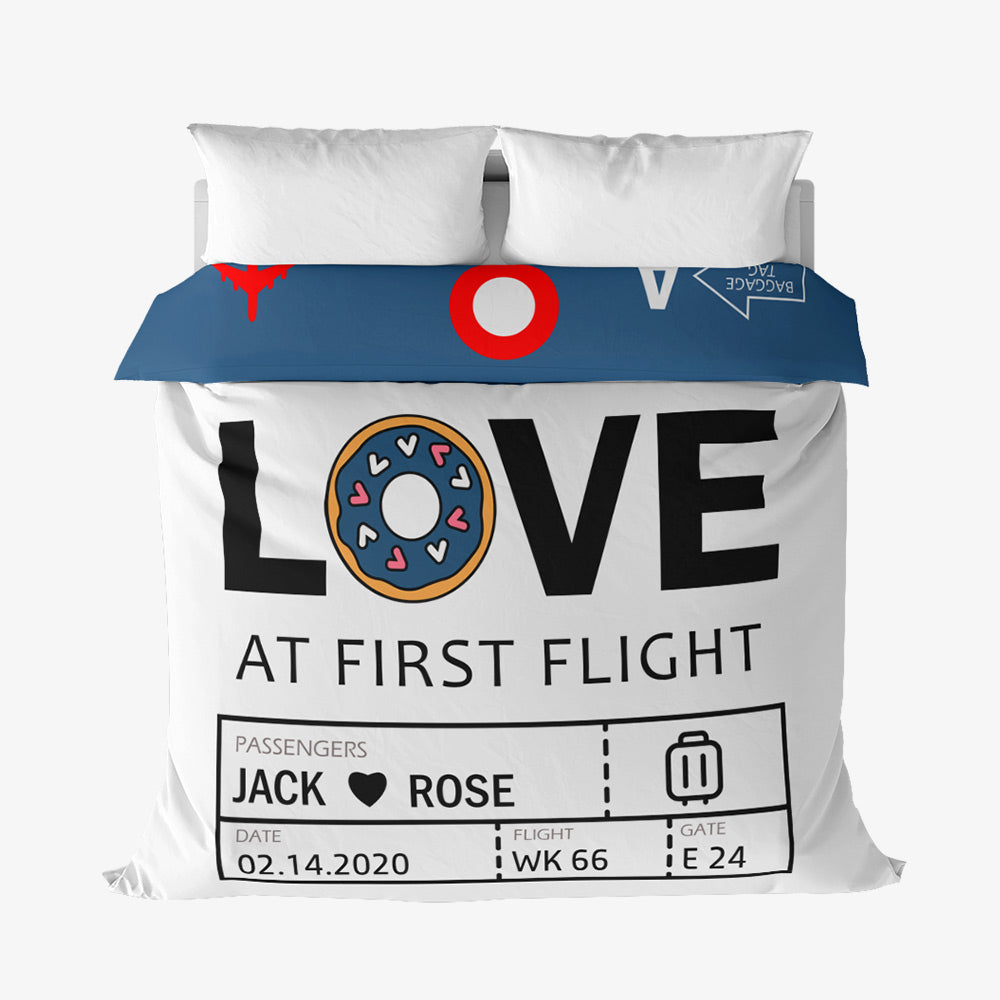 Custom Airport Code Love At First Flight - Duvet Cover