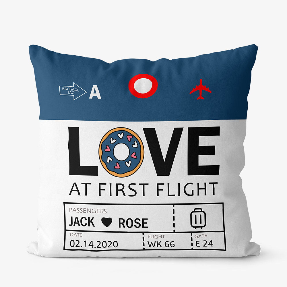 Custom Airport Code Love At First Flight- Throw Pillow