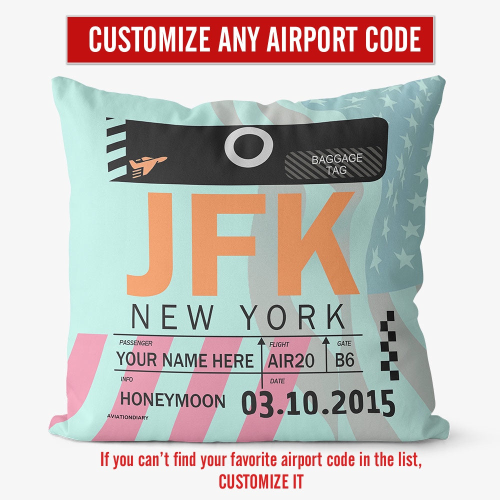 Custom Airport Code- Throw Pillow