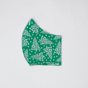 Christmas Silver Trees fabric face mask