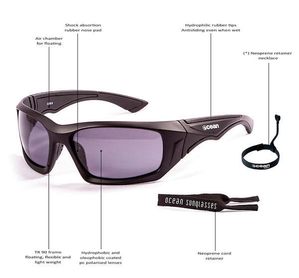 Ocean sunglasses model antigua 3300.2 with shiny white frame and smoke lens polarized eyewear for water sports