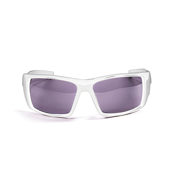 Ocean sunglasses model aruba 3200.2 with shiny white frame and smoke lens polarized eyewear for water sports