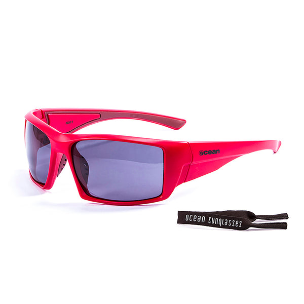 Ocean sunglasses model aruba 3200.5 with matte red frame and smoke lens polarized eyewear for water sports