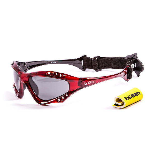 Ocean sunglasses model australia 11700.4 with red frame and smoke lens polarized eyewear for water sports