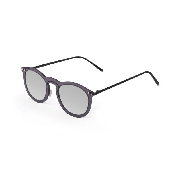 OCEAN Sunglasses BOJpro model BERLIN 20.20 Frame Transparent Black & Lens Silver Mirror