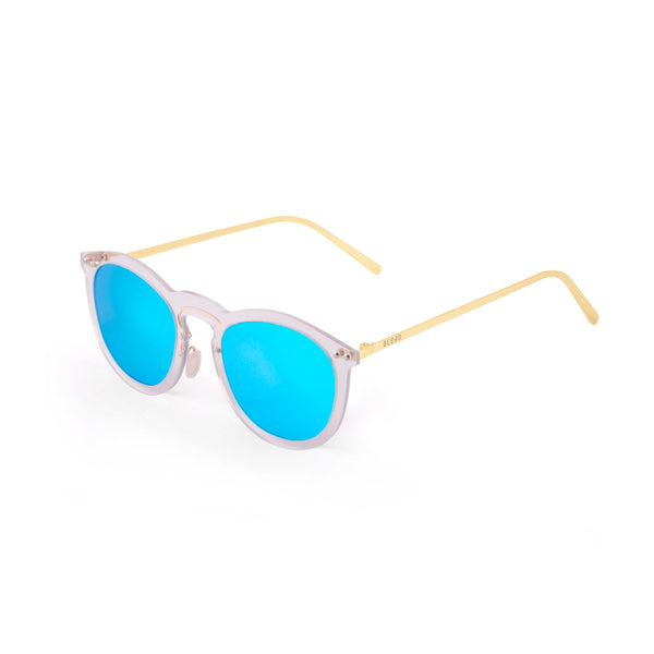 OCEAN Sunglasses BOJpro model BERLIN 20.22 Frame Transparent White & Lens Blue Sky Mirror