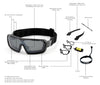 Ocean sunglasses model chameleon 3700.1X with shiny black frame and smoke lens polarized eyewear for water sports