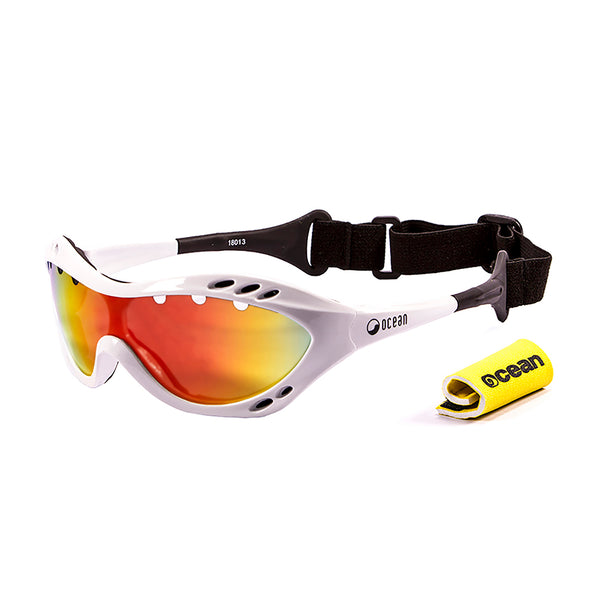 Ocean sunglasses model costa rica 11800.1 with shiny black frame and smoke lens polarized eyewear for water sports
