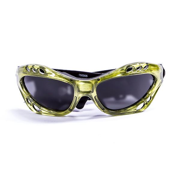 Ocean sunglasses model cumbuco 15000.5 with green frame and smoke lens polarized eyewear for water sports