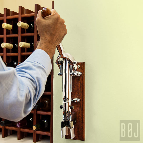 BOJ Professional Chrome Plated, Sapele-Backed Wall-Mounted Corkscrew - BOJpro.com
