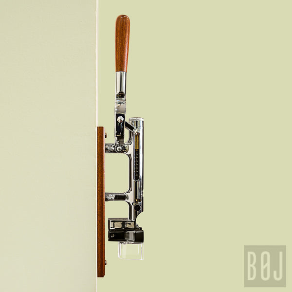 360-Professional Wall-mounted Corkscrew with Wood Backing BOJ (Chrome-Plated)-byBOJ