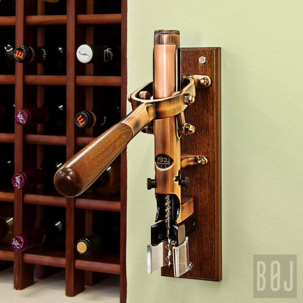 BOJ Professional Old Copper, Sapele-Backed Wall-Mounted Corkscrew Wine Opener - BOJpro.com