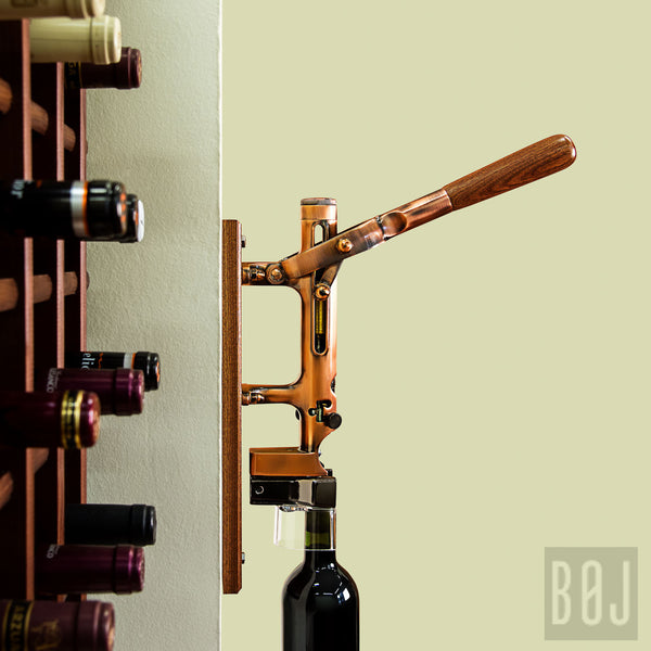 BOJ Professional Old Copper, Sapele-Backed Wall-Mounted Corkscrew - BOJpro.com