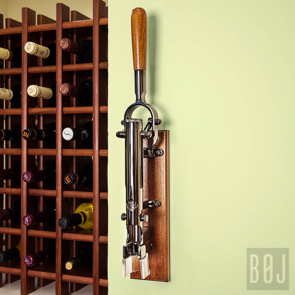 360-Professional Wall-mounted Corkscrew with Wood Backing BOJ (Black Nickeled)-byBOJ