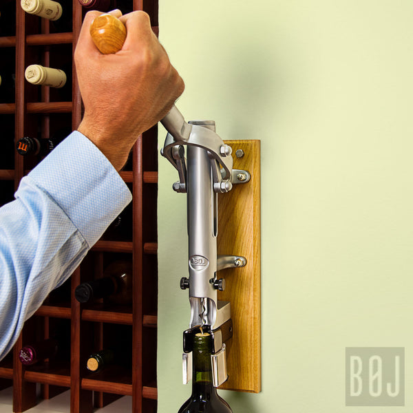 360-Professional Wall-mounted Corkscrew with Wood Backing BOJ (Chrome Matt)-byBOJ