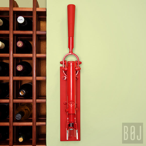 360-Professional Wall-mounted Corkscrew with Wood Backing BOJ (Red)-byBOJ
