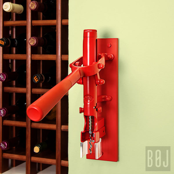 Professional Wall-Mounted Corkscrew Wine Opener with Wood Backing BOJ (Red) - BOJpro.com