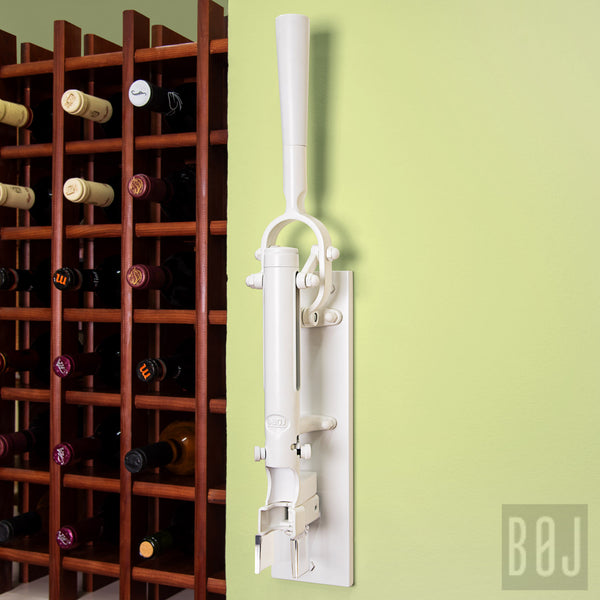 360-Professional Wall-mounted Corkscrew with Wood Backing BOJ (White)-byBOJ