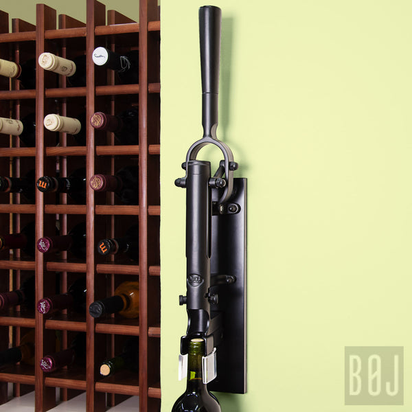 360-Professional Wall-mounted Corkscrew with Wood Backing BOJ (Black)-byBOJ