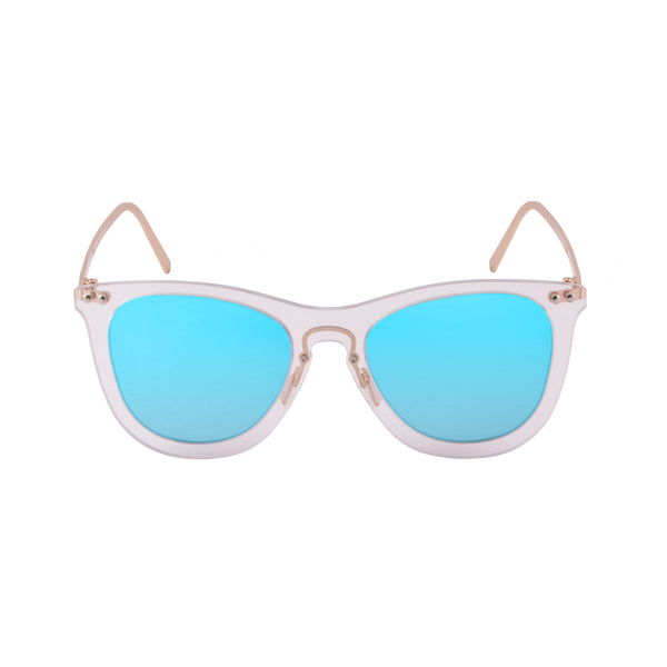 OCEAN Sunglasses BOJpro model GENOVA 23.22 Frame Transparent White & Lens Blue Sky Mirror
