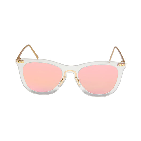 OCEAN Sunglasses BOJpro model GENOVA 23.25 Frame Transparent White & Lens Pink Mirror