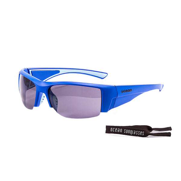 Ocean sunglasses model guadalupe 3500.3 with matte blue frame and smoke lens polarized eyewear for water sports