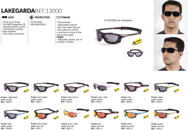 Ocean sunglasses model lake garda 13000.1 with shiny black frame and smoke lens polarized eyewear for water sports