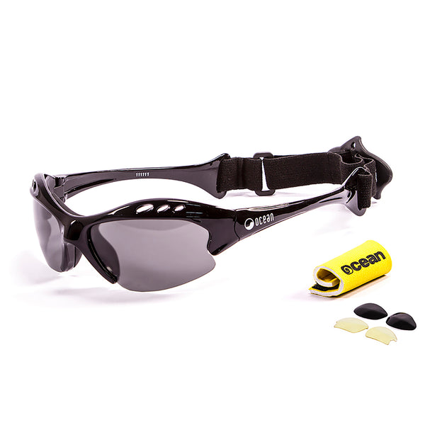 Ocean sunglasses model mauricio 11111.1 with shiny black frame and smoke lens polarized eyewear for water sports