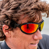 Ocean sunglasses model tierra de fuego 12200.7 with yellow frame and smoke lens polarized eyewear for water sports