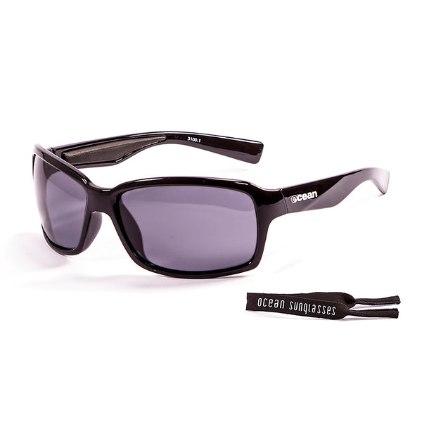 Ocean sunglasses model venezia 3100.1 with shiny black frame and smoke lens polarized eyewear for water sports