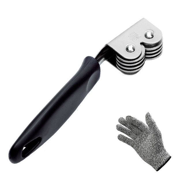 Knife Sharpener BOJ Protective Cut Resistant Glove Level 5 Ergonomic Handle and Wheel Sharpening System