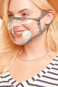 CLEAR VINYL FACE MASK WITH BREATHABLE VALVE VENT