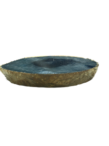 Agate Thick Decorative Platter with Gold Trim