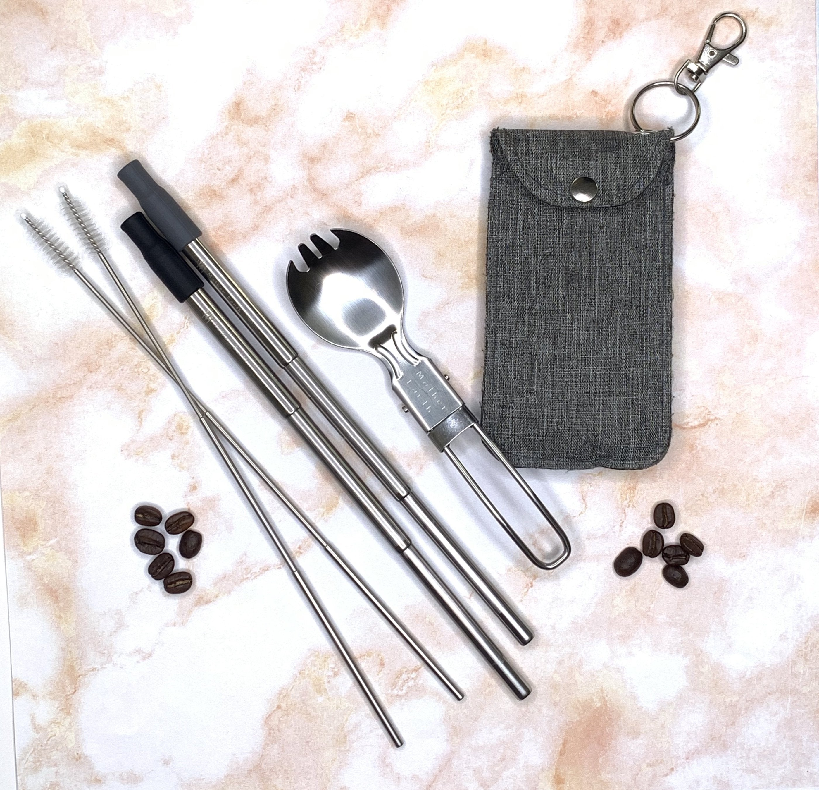Collapsible Straw and Foldable Spork Kit + Optional Foldable Knife
