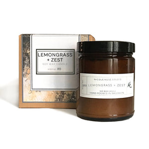 Lemongrass + Zest Aromatherapy Soy Wax Candle