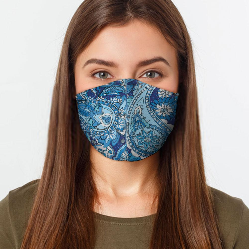 Blue Paisley Face Cover