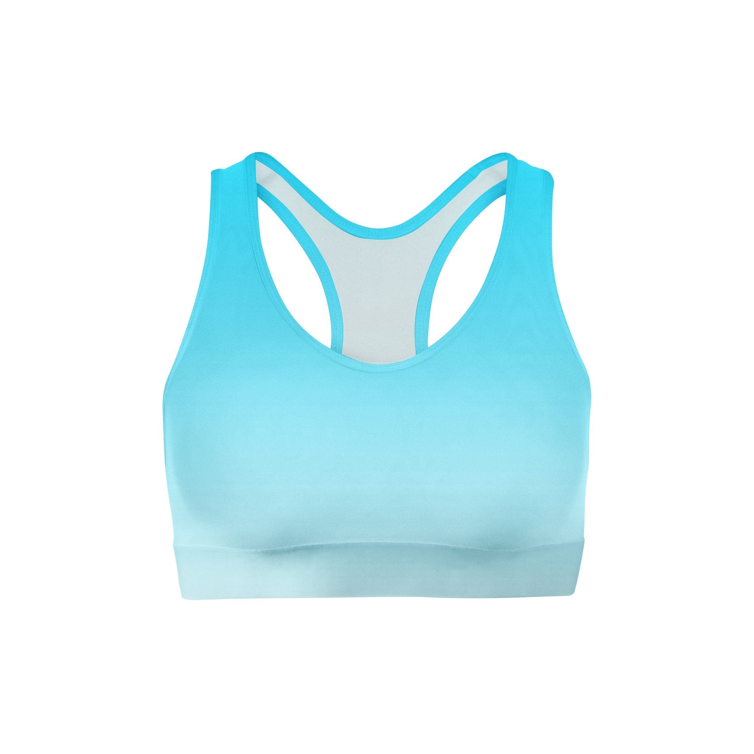 Blue White Ombre Sports Bra
