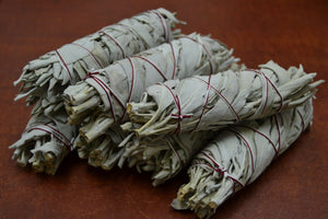 7 Pcs California White Sage Bundle Smudge 4""