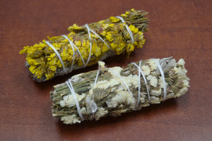 White & Yellow Sinuata Sage Bundle Smudge
