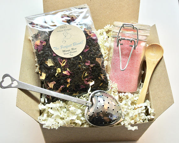 Rose Tea and Sugar Gift Set, Mango Rose Tea, Rose
