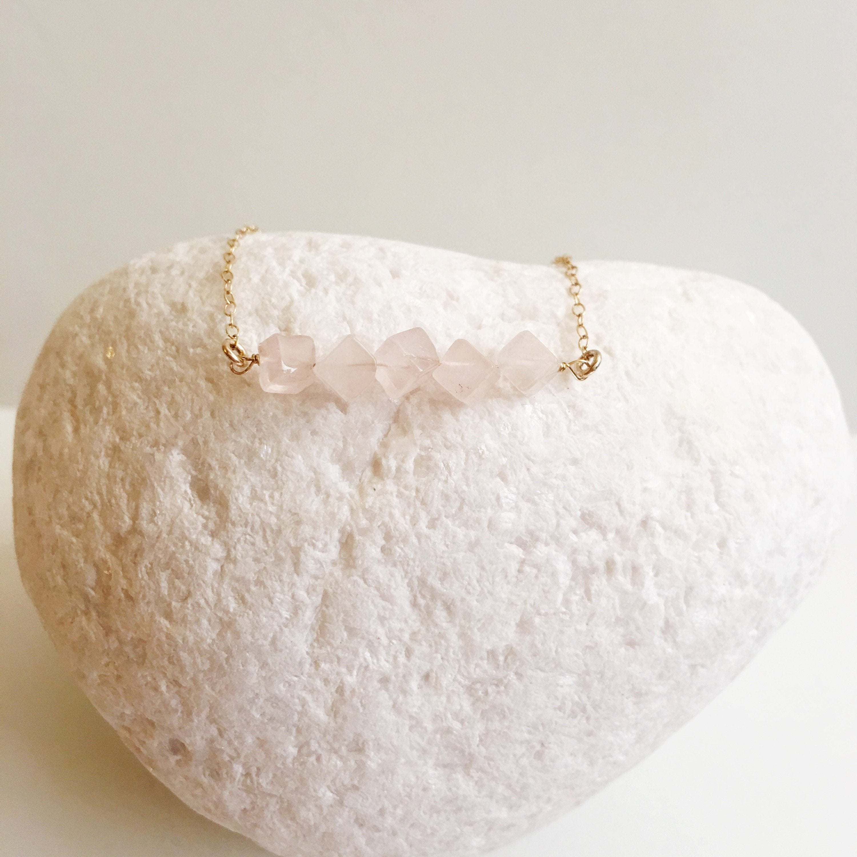 Rose Quartz Square Minimalist Necklace
