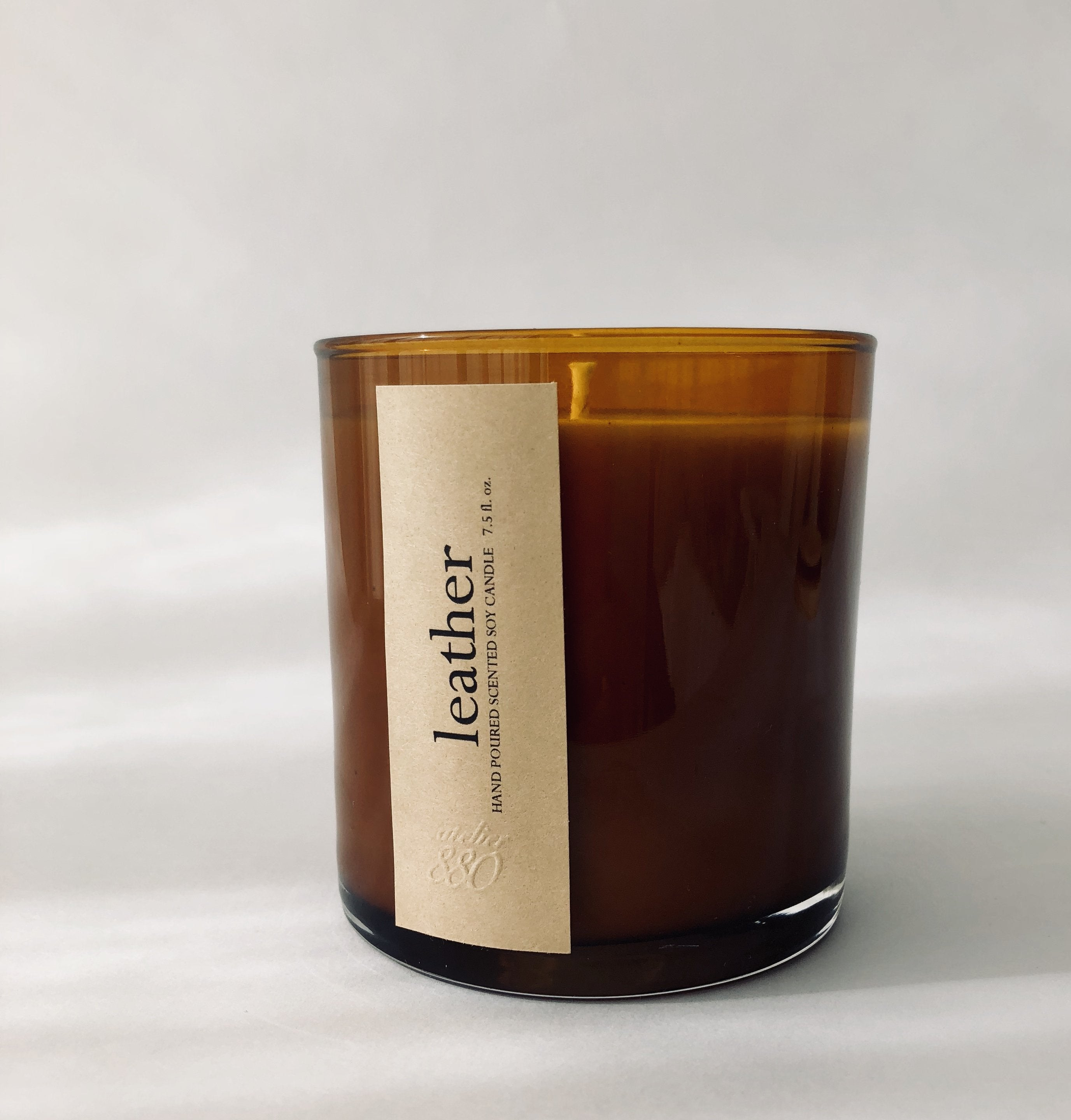 leather scented luxury soy candle