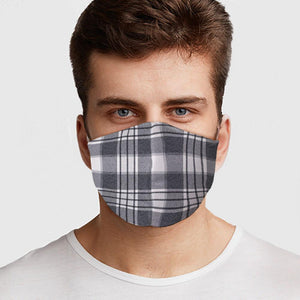 Gray Plaid Face Cover