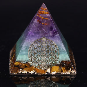Healing Crystal Gold Wire Orgone Pyramid Stone Figurine Energy