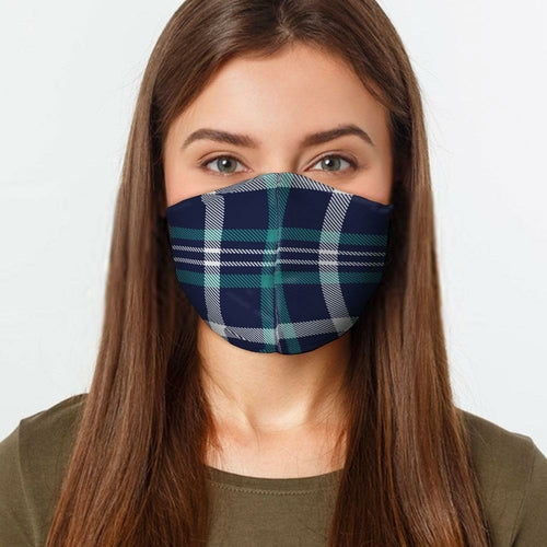 Navy Teal Plaid Face Cover