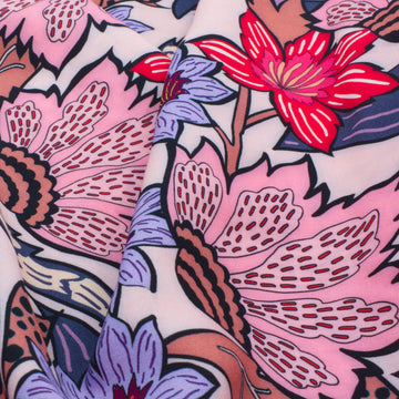 Large Flower Print Viscose - Soft Pink - 1/2 meter