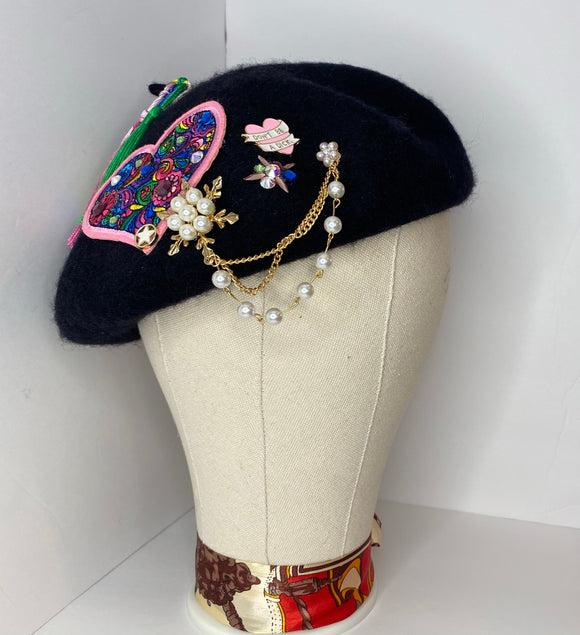 Custom Black Beret - ODDSALTBoutique