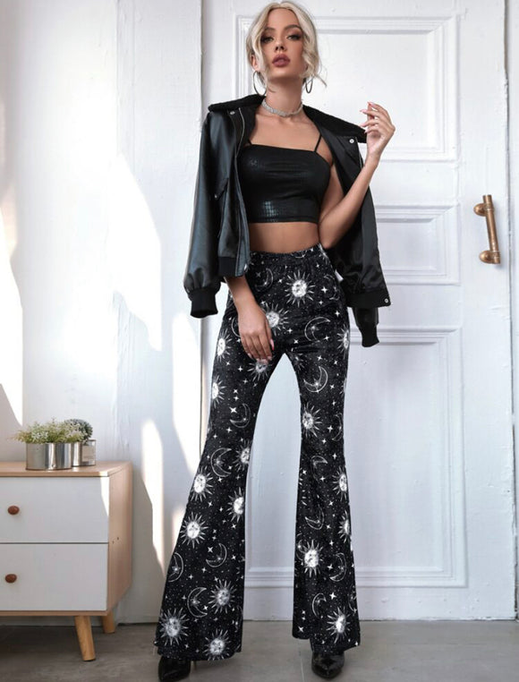 Galaxy Pattern Flare Leg Velvet Pants - ODDSALTBoutique