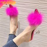 Feather Perspex Crystal Heels - ODDSALTBoutique