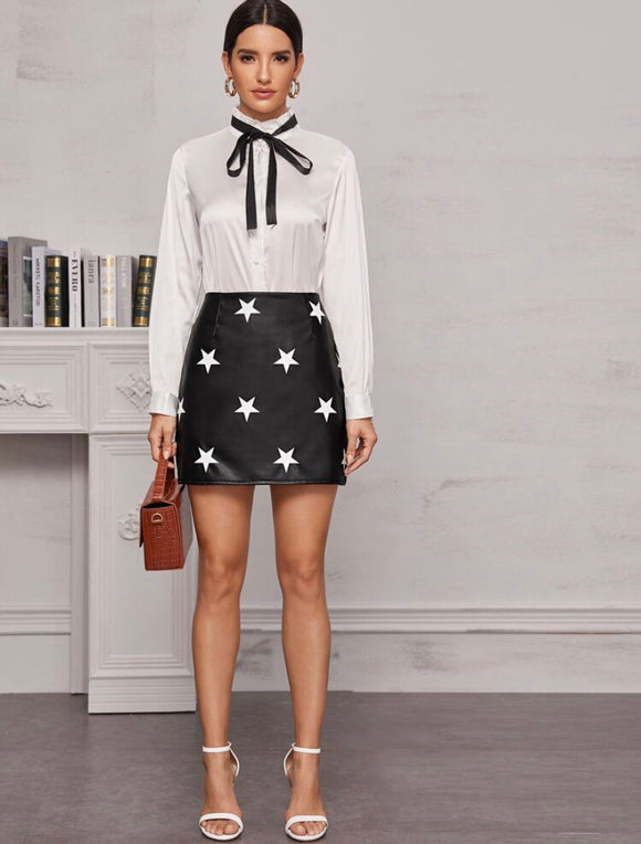 Star Print Faux Leather Mini Skirt - ODDSALTBoutique